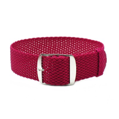 HNS Rose Red Perlon Tropic Braided Woven Watch Strap With Brushed Stainless Steel Buckle