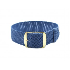 HNS Grey Blue Perlon Tropic Braided Woven Strap With Gold Brushed Stainless Steel Buckle