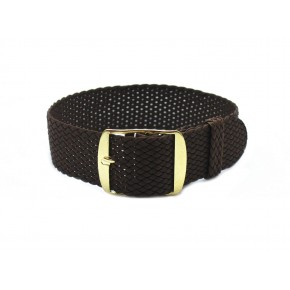 HNS Coffee Perlon Tropic Braided Woven Strap With Gold Brushed Stainless Steel Buckle