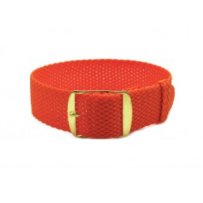 HNS Orange Perlon Tropic Braided Woven Strap With Gold Brushed Stainless Steel Buckle