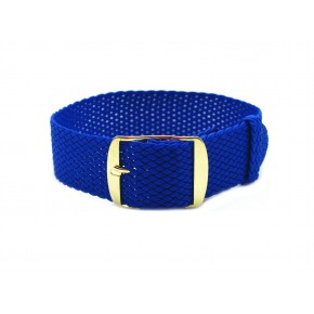 HNS Blue Perlon Tropic Braided Woven Strap With Gold Brushed Stainless Steel Buckle