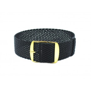 HNS Charcoal Perlon Tropic Braided Woven Strap With Gold Brushed Stainless Steel Buckle