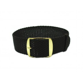 HNS Dark Brown Perlon Tropic Braided Woven Strap With Gold Brushed Stainless Steel Buckle