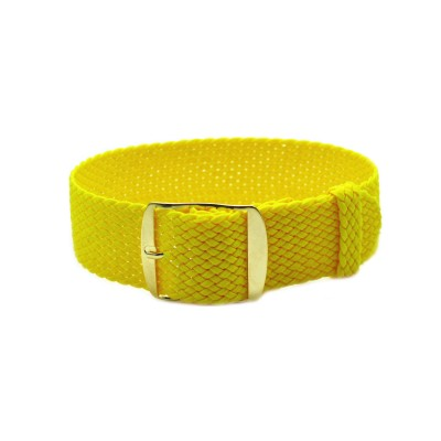 HNS Yellow Perlon Tropic Braided Woven Strap With Gold Brushed Stainless Steel Buckle