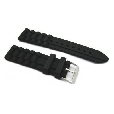 HNS 20/22/24MM BLACK SILICONE DIVER RUBBER WATERPROOF WATCH STRAP