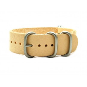 HNS Handmade Natural Calf Leather Watch Strap With 5 Matt Stainless Steel Rings