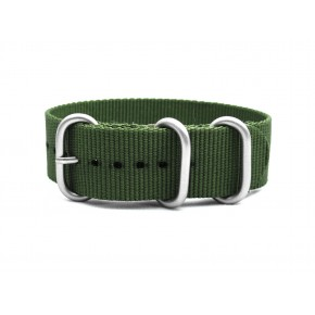 HNS Olive Drab Heavy  Duty Ballistic Nylon Watch Strap With 3 Matt Stainless Steel Rings