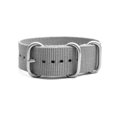 HNS Grey Heavy  Duty Ballistic Nylon Watch Strap with 3 Matt Stainless Steel Rings