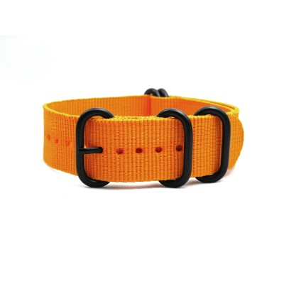 HNS Dark Orange Heavy Duty Ballistic Nylon Watch Strap With 5 PVD Coated Stainless Steel Rings