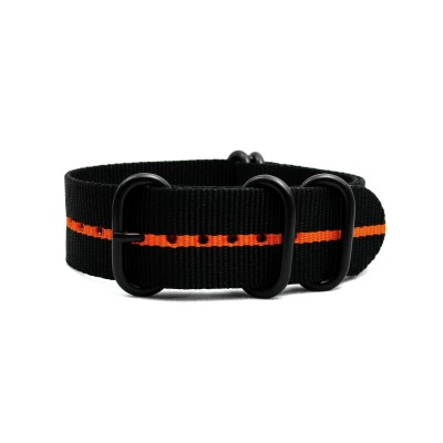 HNS Black & Orange Strip Heavy Duty Ballistic Nylon Watch Strap With 5 PVD Coated Stainless Steel Rings