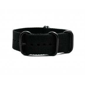 HNS Black Heavy Duty Ballistic Nylon Watch Strap With 5 PVD Coated Stainless Steel Rings