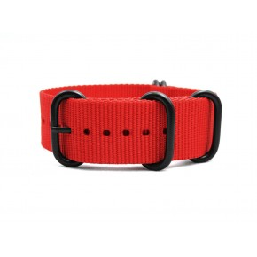 HNS Red Heavy Duty Ballistic Nylon Watch Strap With 5 PVD Coated Stainless Steel Rings
