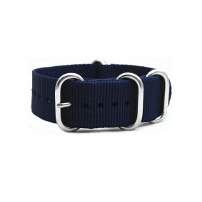 HNS Navy Blue Heavry Duty Ballistic Nylon Watch Strap With 5 Polished Stainless Steel Rings