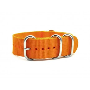 HNS Dark Orange Heavy  Duty Ballistic Nylon Watch Strap With 5 Polished Stainless Steel Rings