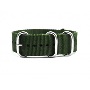 HNS Olive Drab Heavy Duty Ballistic Nylon Watch Strap With 5 Polished Stainless Steel Rings