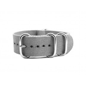 HNS Grey Heavy  Duty Ballistic Nylon Watch Strap With 5 Polished Stainless Steel Rings