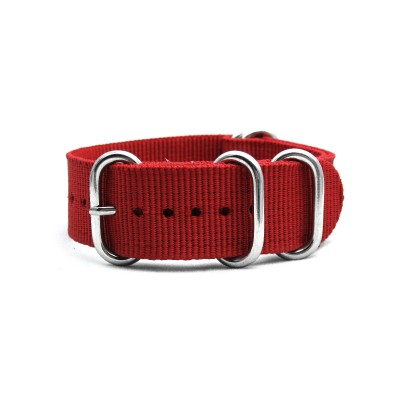 HNS Red Heavy Duty Ballistic Nylon Watch Strap With 5 Polished Stainless Steel Rings