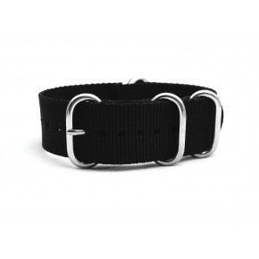 HNS Black Heavy  Duty Ballistic Nylon Watch Strap With 5 Polished Stainless Steel Rings