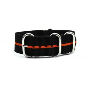 HNS Black & Orange Strip Heavy Duty Ballistic Nylon Watch Strap With 5 Polished Stainless Steel Rings