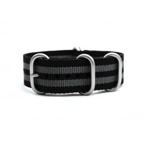 HNS Bond Black & Grey Heavy Duty Ballistic Nylon Watch Strap with 5 Matt Stainless Steel Rings