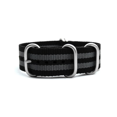 HNS Bond Black & Grey Heavy Duty Ballistic Nylon Watch Strap with 5 Matt Stainless Steel Rings