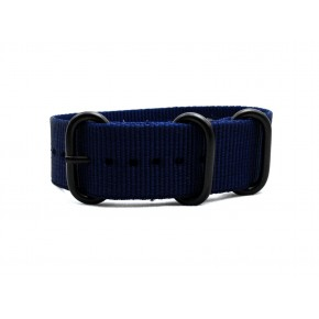 HNS Navy Blue Heavy Duty Ballistic Nylon Watch Strap With 3 PVD Coated Stainless Steel Rings