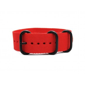 HNS Red Heavy Duty Ballistic Nylon Watch Strap With 3 PVD Coated Stainless Steel Rings