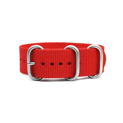HNS Red Heavy Duty Ballistic Nylon Watch Strap with 3 Matt Stainless Steel Rings
