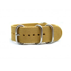 HNS Khaki Heavy Duty Ballistic Nylon Watch Strap With 5 Polished Stainless Steel Rings