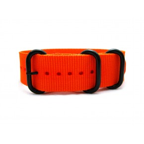 HNS Orange Heavy Duty Ballistic Nylon Watch Strap With 3 PVD Coated Stainless Steel Rings