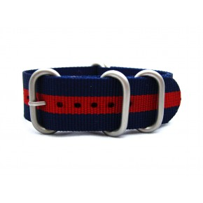 HNS Navy & Red Strip Heavy Duty Ballistic Nylon Watch Strap With 5 Matt Stainless Steel Rings