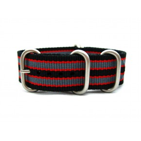 HNS Black & Red & Grey Strip Heavy Duty Ballistic Nylon Watch Strap With 5 Matt Stainless Steel Rings
