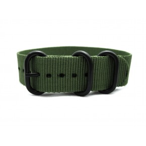 HNS Olive Heavy Duty Ballistic Nylon Watch Strap With 3 PVD Coated Stainless Steel Rings