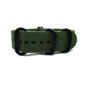 HNS Olive Heavy Duty Ballistic Nylon Watch Strap With 5 PVD Coated Stainless Steel Rings