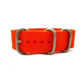 HNS Orange Heavy Duty Ballistic Nylon Watch Strap With 3 Matt Stainless Steel Rings