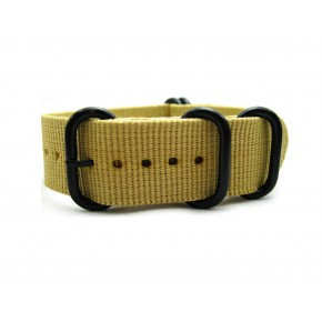 HNS Khaki Heavy Duty Ballistic Nylon Watch Strap With 5 PVD Coated Stainless Steel Rings