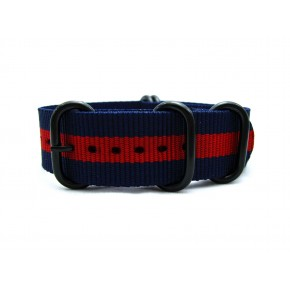 HNS Navy & Red  Heavy Duty Ballistic Nylon Watch Strap With 5 PVD Coated Stainless Steel Rings
