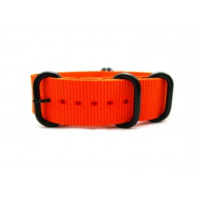HNS Orange Heavy Duty Ballistic Nylon Watch Strap With 5 PVD Coated Stainless Steel Rings