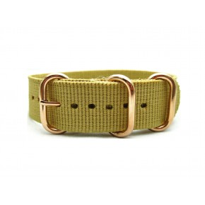 HNS Khaki Heavy Duty Ballistic Nylon Watch Strap With 3 Rose Gold Plated Stainless Steel Rings