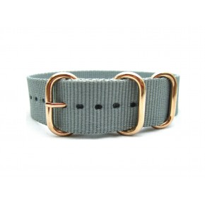 HNS Light Grey Heavy Duty Ballistic Nylon Watch Strap With 3 Rose Gold Plated Stainless Steel Rings