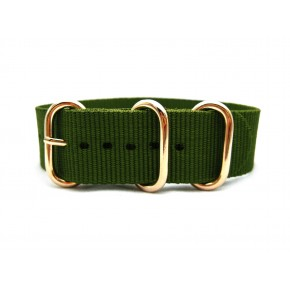 HNS Olive Heavy Duty Ballistic Nylon Watch Strap With 3 Rose Gold Plated Stainless Steel Rings