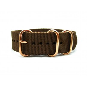 HNS Coffee Heavy Duty Ballistic Nylon Watch Strap With 3 Rose Gold Plated Stainless Steel Rings