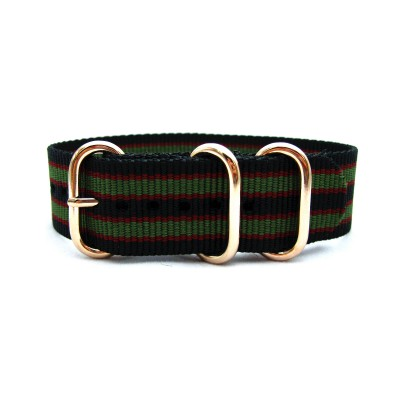 HNS Black & Red & Green Strip Heavy Duty Ballistic Nylon Watch Strap With 3 Rose Gold Plated Stainless Steel Rings