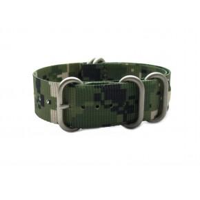 HNS Camouflage Desert Heavy Duty Ballistic Nylon Watch Strap With 5 Matt Stainless Steel Rings