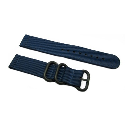HNS 2 Pieces Navy Heavy Duty Ballistic Nylon Watch Strap With 3 PVD Coated Stainless Steel Rings