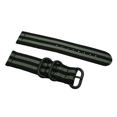 HNS 2 Pieces James Bond 007 Black & Grey Heavy Duty Ballistic Nylon Watch Strap With 3 PVD Coated Stainless Steel Rings