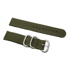 HNS 2 Pieces Olive Heavy Duty Ballistic Nylon Watch Strap With 3 Matt Stainless Steel Rings