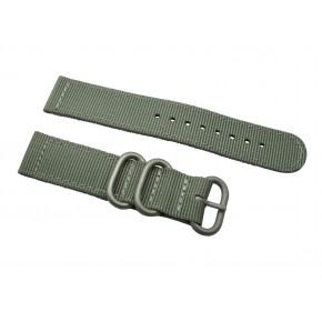 HNS 2 Pieces Dark Grey Heavy Duty Ballistic Nylon Watch Strap With 3 Matt Stainless Steel Rings