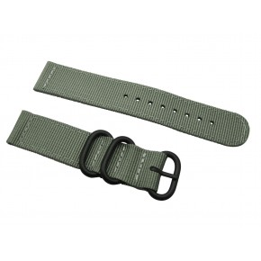 HNS 2 Pieces Dark Grey Heavy Duty Ballistic Nylon Watch Strap With 3 PVD Coated Stainless Steel Rings