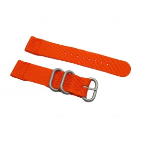 HNS 2 Pieces Orange  Heavy Duty Ballistic Nylon Watch Strap With 3 Matte  Stainless Steel Rings